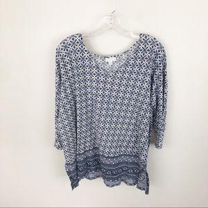 J Jill Mixed Print V Neck Linen Shirt 3/4 Sleeve